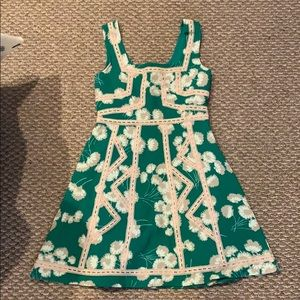 Women's green and white floral dress
